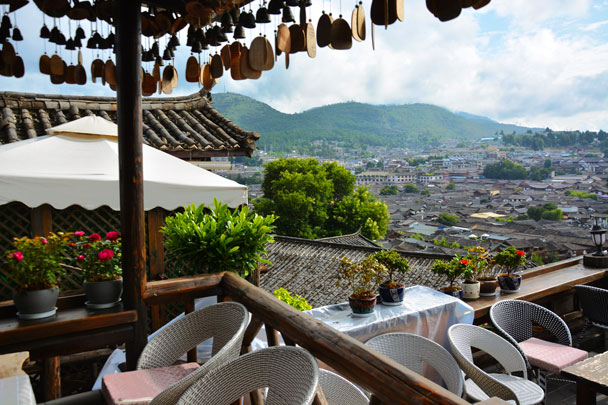 At a coffee store with a great view - Lijiang and Shangri-La, Yunnan Province, July 2018