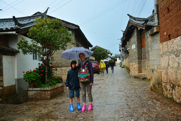 Hiking through Baisha Old Town in the rain - Lijiang and Shangri-La, Yunnan Province, July 2018