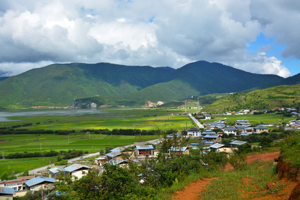 Overlooking the village from the highland - Lijiang and Shangri-La, Yunnan Province, July 2018