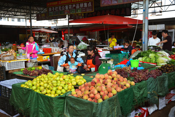 Local fruit and vegetable market - Lijiang and Shangri-La, Yunnan Province, July 2018