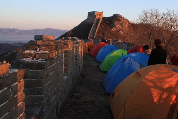 Sunrise at the campsite - Switchback Great Wall Camping, 2016/03/26