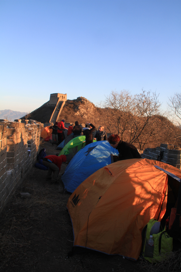 The campsite in the morning - Switchback Great Wall Camping, 2016/03/26