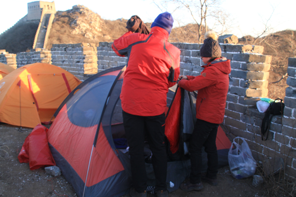 Packing up the tents - Switchback Great Wall Camping, 2016/03/26
