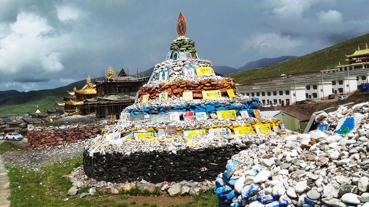 Stupas at a temple near Amne Machin Snow Mountain