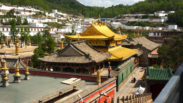 The golden roof of the main temple in Kumbum Monastery
