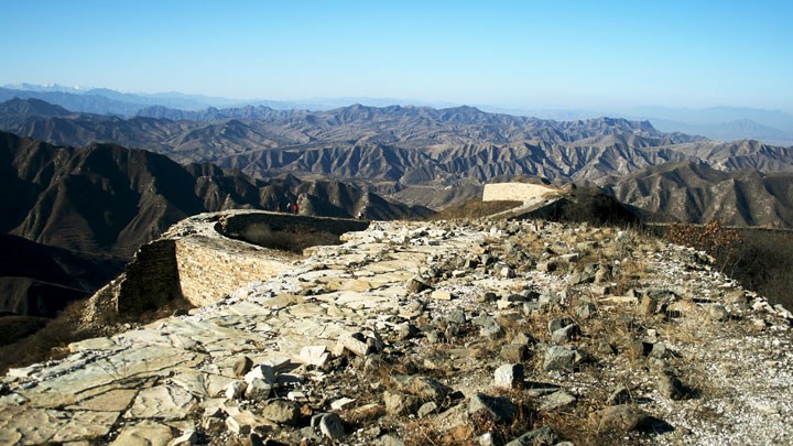 Views of mountains from the Great Wall at Big Camp Plate