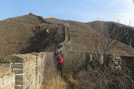 Climbing up to a peak on the Great Wall