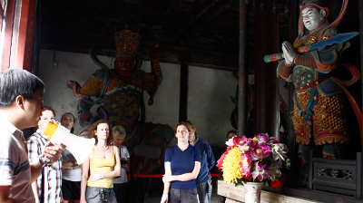 A group inside a temple hall