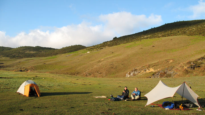 The campsite in the Cang Mountains