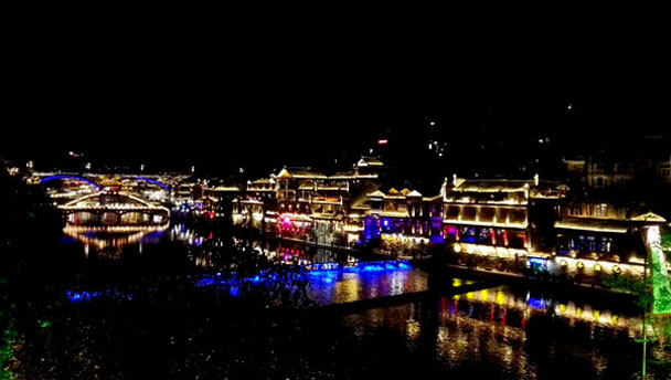 The lights of Fenghuang Ancient Town, Hunan