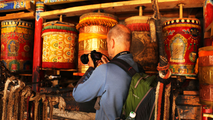 Prayer wheels at Labrang Monastery