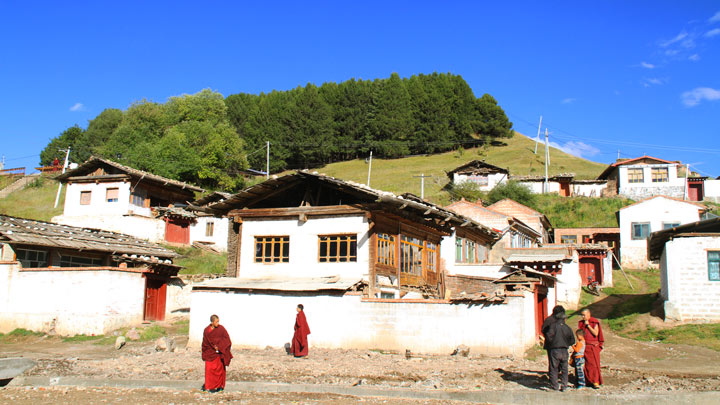 Monks in a small village