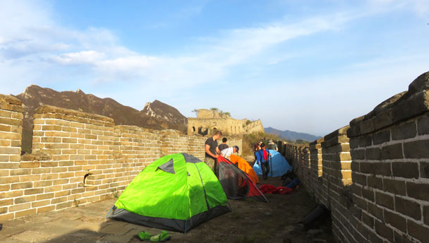 Setting up camp on the the Great Wall Spur