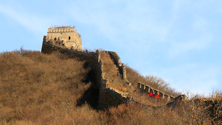 Hiking down from a tower on the Great Wall Spur