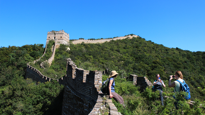 Blue skies over a line of unrepaired 'wild' Great Wall