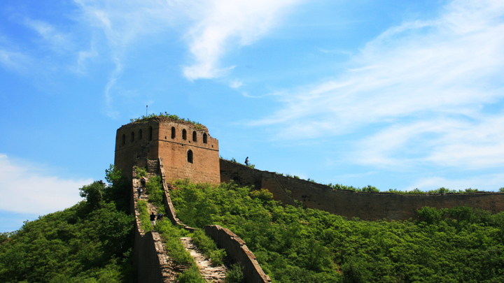 A large and solid tower, seen on the extended section of the Gubeikou Great Wall hike