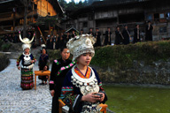 A traditional welcome to a Miao village