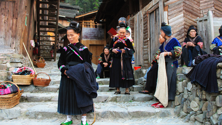 A scene in a Miao village