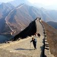 Hikers on a restored stretch of the Huanghuacheng Great Wall