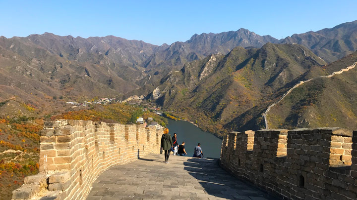 Repaired Great Wall above the Huanghuachang Reservoir