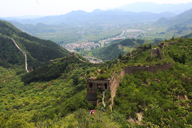 Hiking down an unrepaired section of the Great Wall at Huanghuacheng