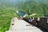 Hikers on the way up from the reservoir below the Huanghuacheng Great Wall