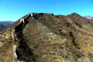 A winter view of the unrepaired west side of the Huanghuacheng Great Wall