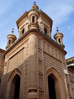 Minarets top an ornate building in Kashgar's Old City