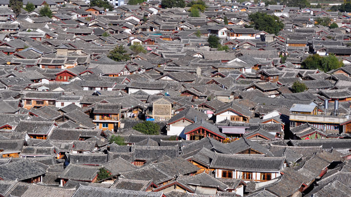 Part of Lijiang's Old Quarter, seen from Lion Hill
