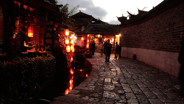 A cobbled street in Shuhe Old Town, near Lijiang
