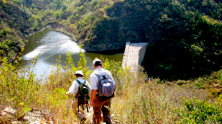 Hiking down to a reservoir on the way to the Ming Tombs area.