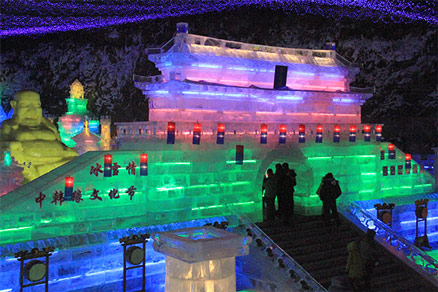 An ice sculpture at the Longqingxia Ice Festival