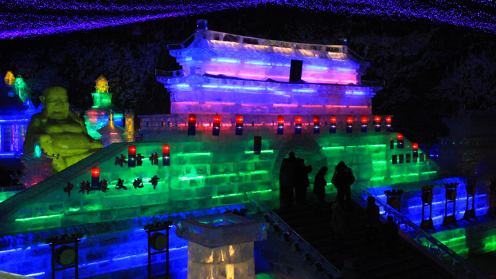 Ice sculptures at the Longqingxia Ice Festival