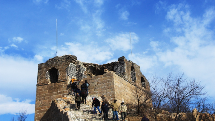 A partially repaired tower on the Great Wall at Longquanyu