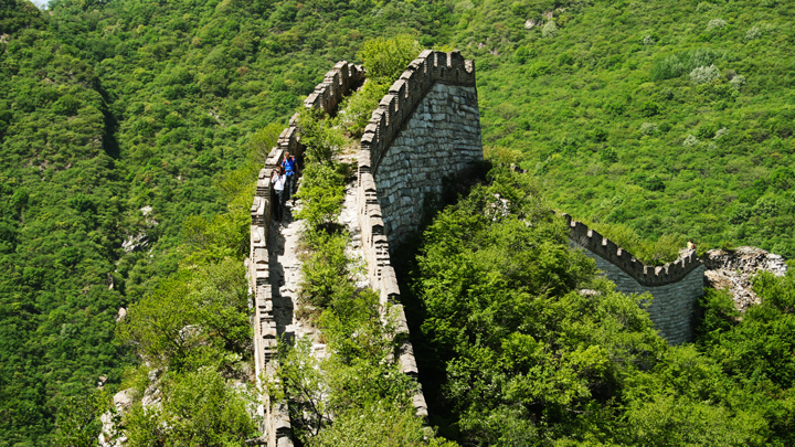 Hikers inching down rough 'wild' Great Wall on the Nine-Eyes Tower hike