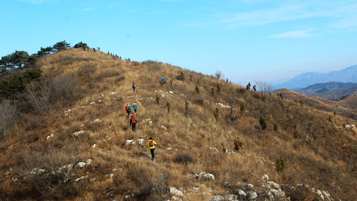 Hiking a shepherd's track on a ridgeline