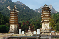 Several of the pagodas at the Silver Mountain Pagoda Forest