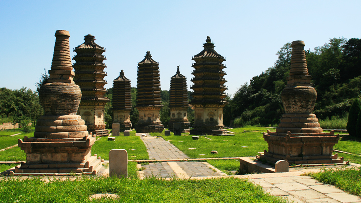 A view of the pagoda and stupas from the rear of the site