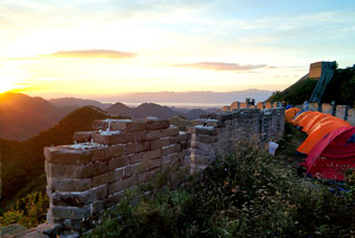 Sunset at the campsite on the Great Wall