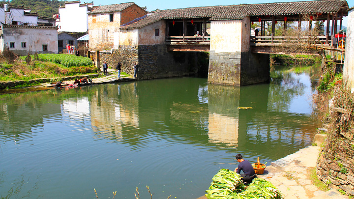 One of the old covered bridges in Wuyuan