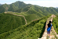 Long views of Great Wall in the mountains of Yanqing District, Beijing