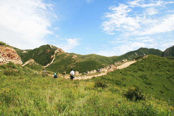 Long views of Great Wall in Yanqing County, Beijing