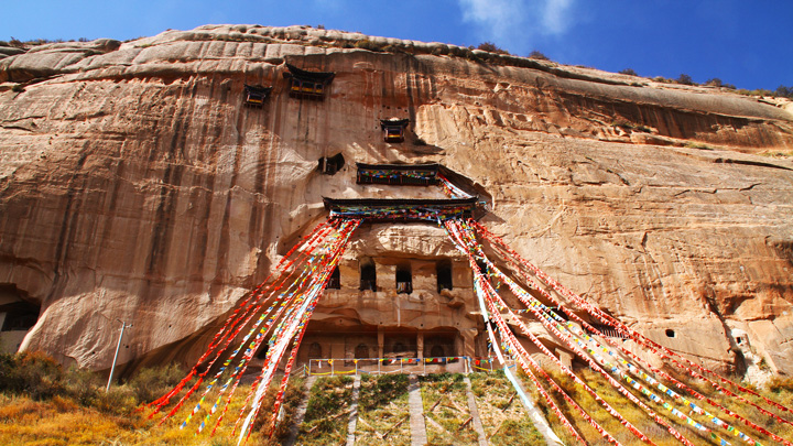 The cliffside chambers of Horse Hoof Temple, near Zhangye, Gansu