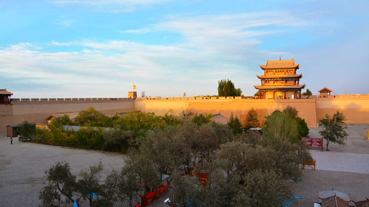 One of the inner courtyards of the fortress at Jiayuguan