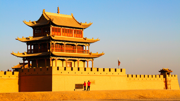 Outside the west gate of the fortress at Jiayuguan