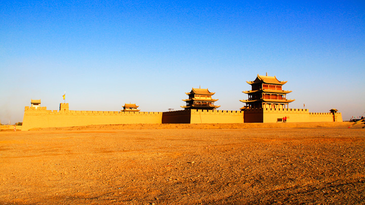 The fortress at Jiayuguan, seen from the outside