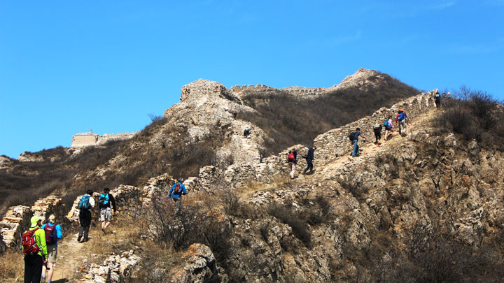 Rough and rocky Great Wall at Zhenbiancheng