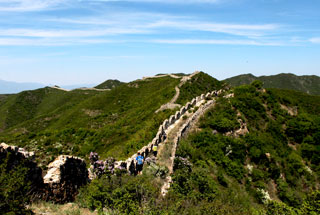 Rough Great Wall in the hills above Zhenbiancheng